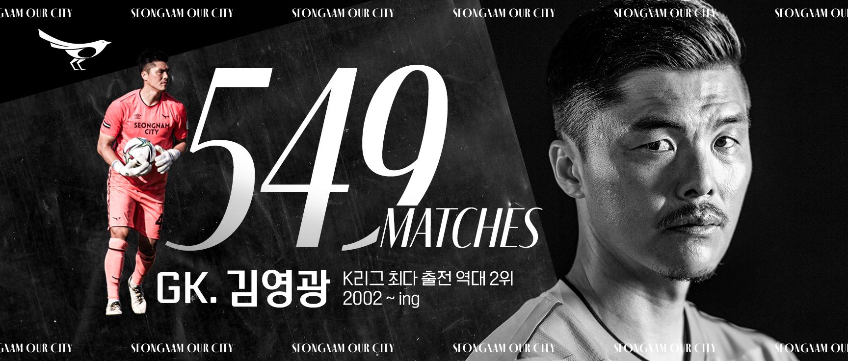 성남FC 김영광, K리그 통산 549경기 출전..역대 2위 기록